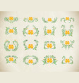 folk yellow painting floral set vector image