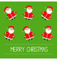 Funny cartoon Santas Green Background vector image