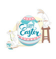funny happy easter greeting card with rabbits vector image vector image