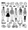 funny hipster characters with funky fashioned vector image vector image
