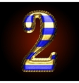 golden and blue letter 2 vector image vector image