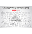 Green Learning Environment with Doodle design vector image