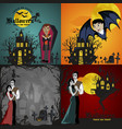 halloween backgrounds set with vampire and their vector image vector image