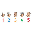 hands with fingersicon set for counting education vector image
