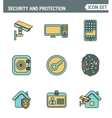 Icons Line set of premium quality various security vector image vector image