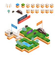 isometric map city road set kit building isolated vector image