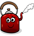 kettle and steam cartoon vector image vector image