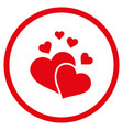 lovely hearts rounded icon vector image vector image
