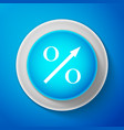 percent up arrow icon isolated on blue background vector image