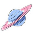 planet saturn on white background vector image