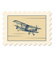 post stamp biplane vector image vector image