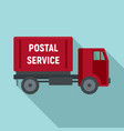 postal service truck icon flat style vector image