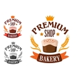 Premium bakery shop symbol with cake vector image vector image