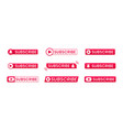 red subscribe button icons with ring symbol vector image vector image