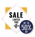 sale limited time offer up to 50 square backgroun vector image vector image