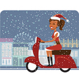 Santa girl riding red scooter vector image