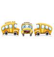 school bus funny cartoon happy smilling back to vector image vector image