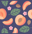 seamless pattern apricot leaves flowers vector image vector image