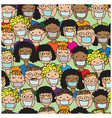 seamless pattern with cartoon people in medical ma vector image