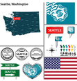 Seattle Washington set vector image