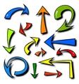 set of hand drawn comics arrows vector image vector image