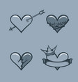 set of hearts monochrome tattoo style vector image
