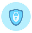 shield with lock icon on blue background vector image vector image
