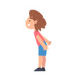 side view cute smiling boy character vector image vector image