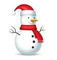 snowman with red scarf and hat with a bubo vector image vector image