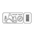 ticket with barcode and waterfall vector image vector image