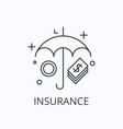 umbrella and money thin line icon insurance vector image vector image