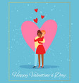 valentines day couple love card with two enamored vector image vector image