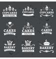 Vintage retro bakery labels on chalkboard vector image