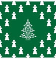 White snowmen and Christmas tree on green vector image