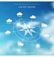 Wind rose and weather icons on blurred background vector image vector image