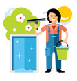 window washer cleaning service flat style vector image vector image