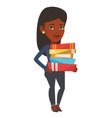 Woman holding pile of books vector image vector image