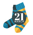world down syndrome day isolated icon child socks vector image