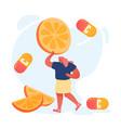 young woman holding huge orange or lemon slice vector image vector image