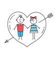 lovers holding hands with heart pierced by arrow vector image