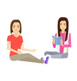 Woman sitting on floor vector image