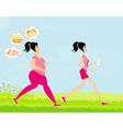 Young woman joggingfat girl dreams of unhealthy vector image