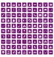 100 nursery school icons set grunge purple vector image vector image