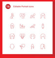 16 portrait icons vector image vector image