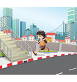 A girl running at the street near the stairs vector image vector image
