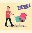 a man with shopping cart sale vector image vector image