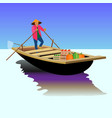 asian food seller on a boat vector image vector image