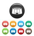 big sport arena icons set color vector image vector image