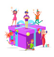 birthday present prepared by people with cake vector image vector image