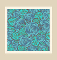 Blue roses with border vector image vector image
